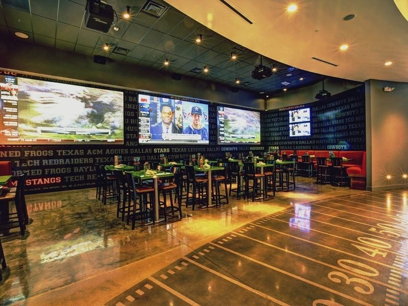 Check out Dave & Buster's in Dallas for some great fun. Dave & Buster's provides seasonal outdoor seating? be sure to grab a chair before it's too late. TVs are also readily available in the bar area to broadcast the best giveback.cfon: Walnut Hill Lane, Dallas, , TX.